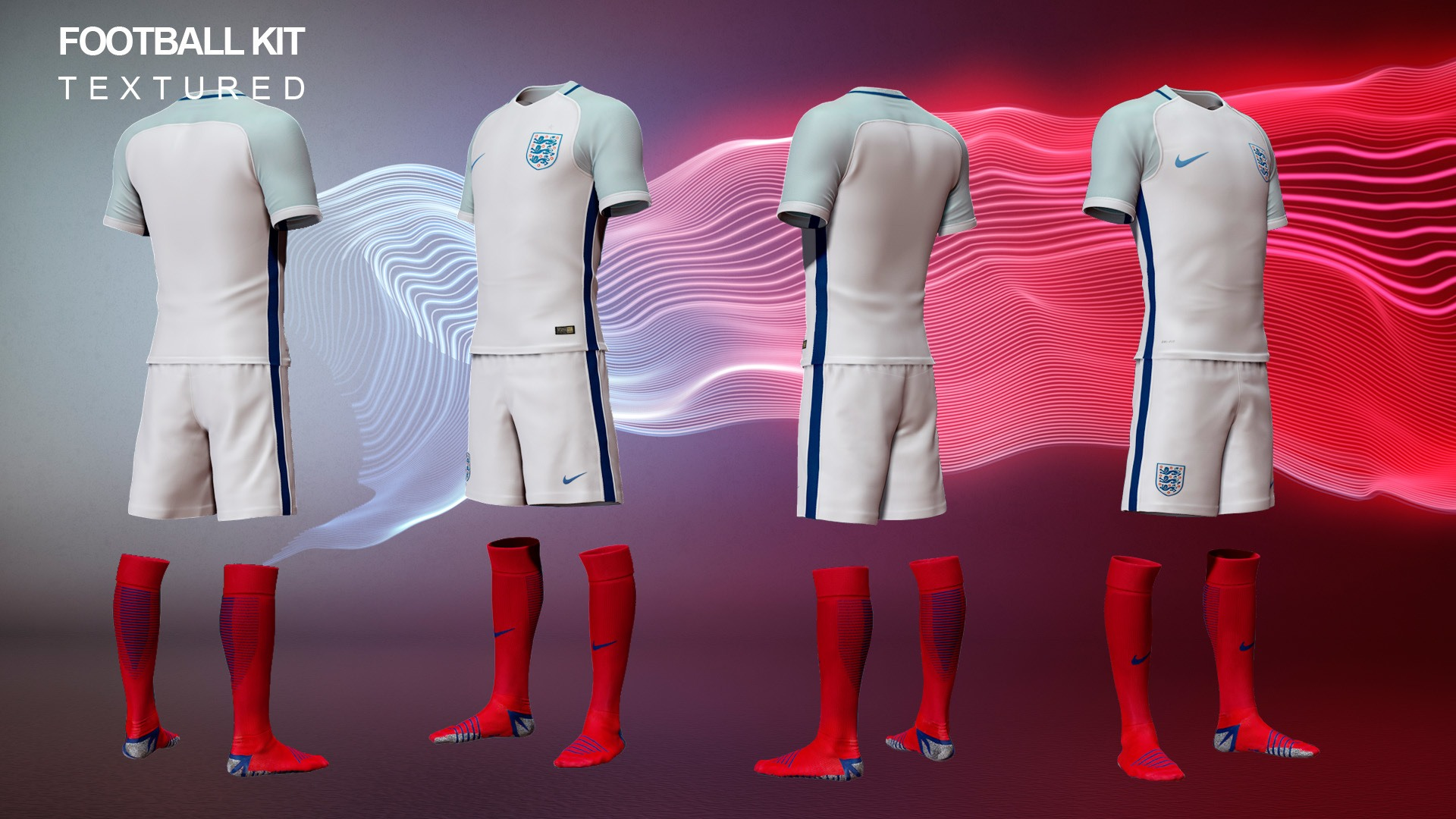 CGI modeling of a nike england football kit 2016 from all angels