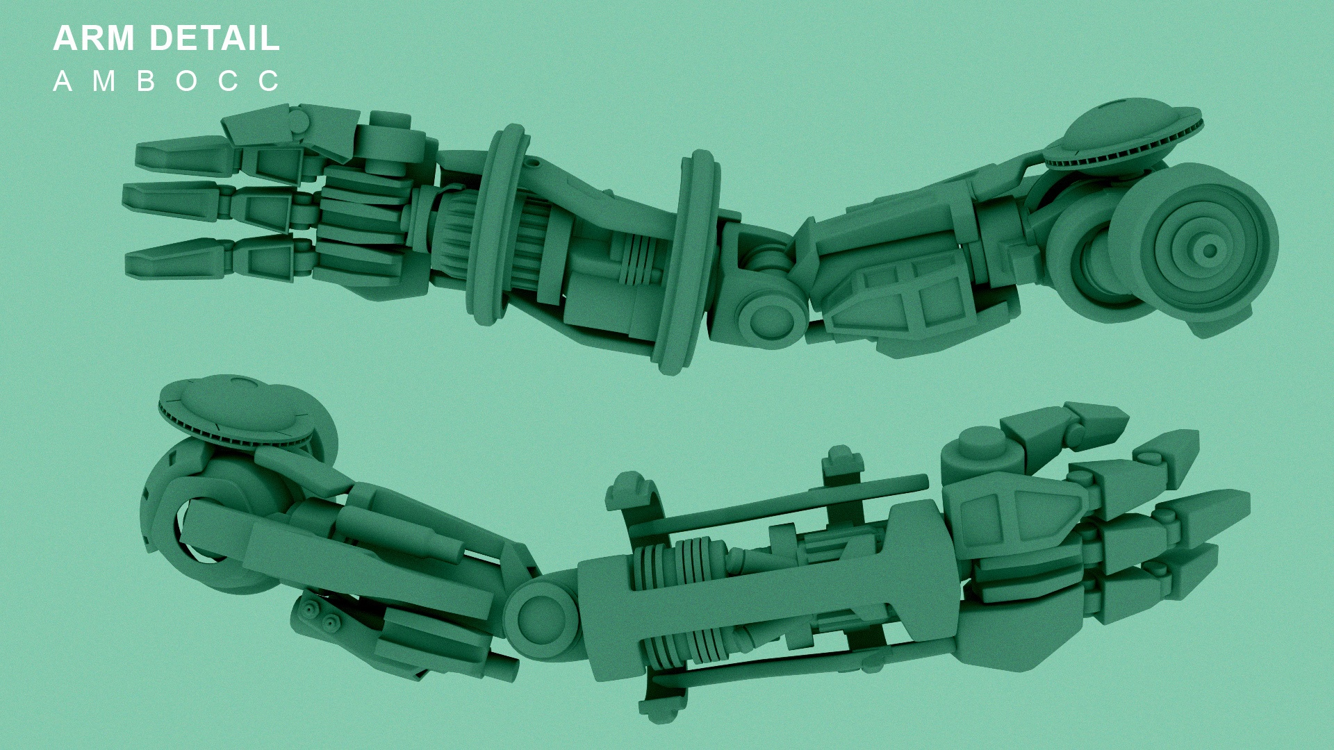CGI ambocc render of a robot arm on a green background