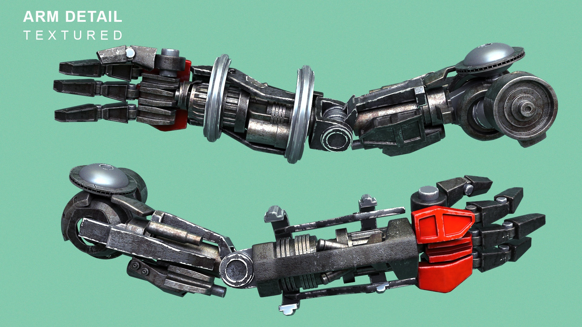 CGI render of a robot arm on a green background