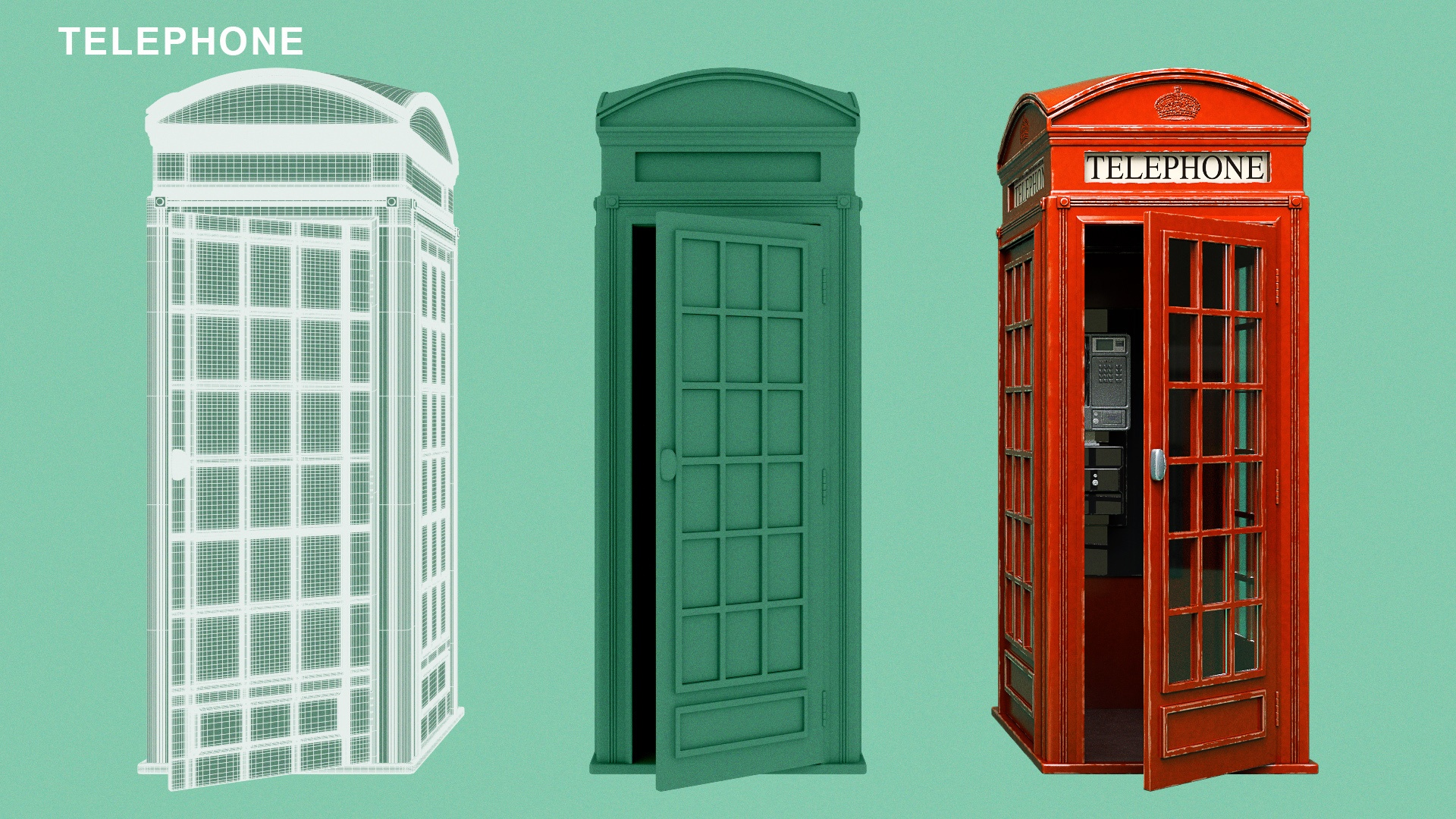 CGI Illustration of various stages of a CGI process of a british red telephone box