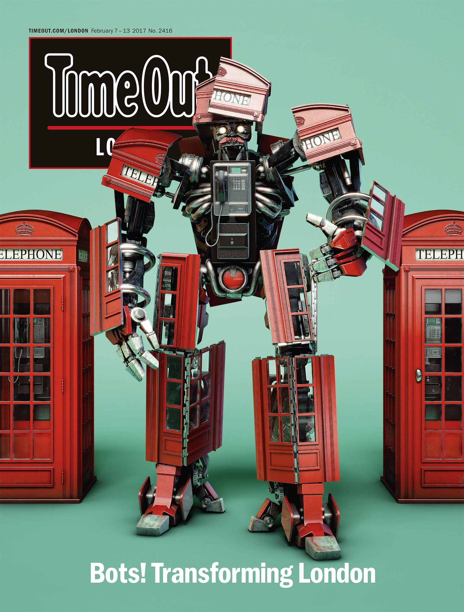 time out london front cover featuring a red transformer robot standing in front of two british red telephone boxes