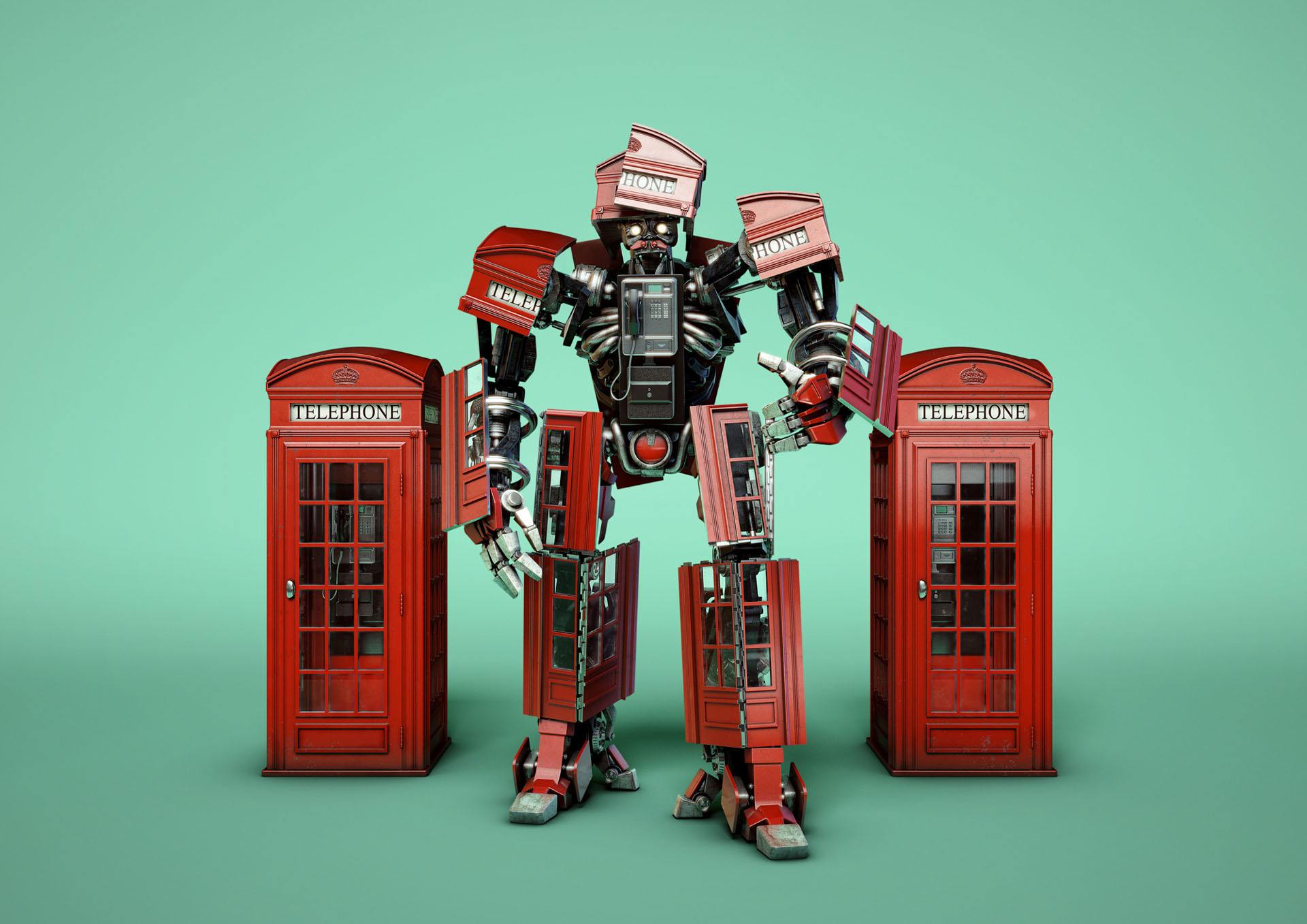 CGI Illustration of a red transformer robot standing in front of two british red telephone boxes