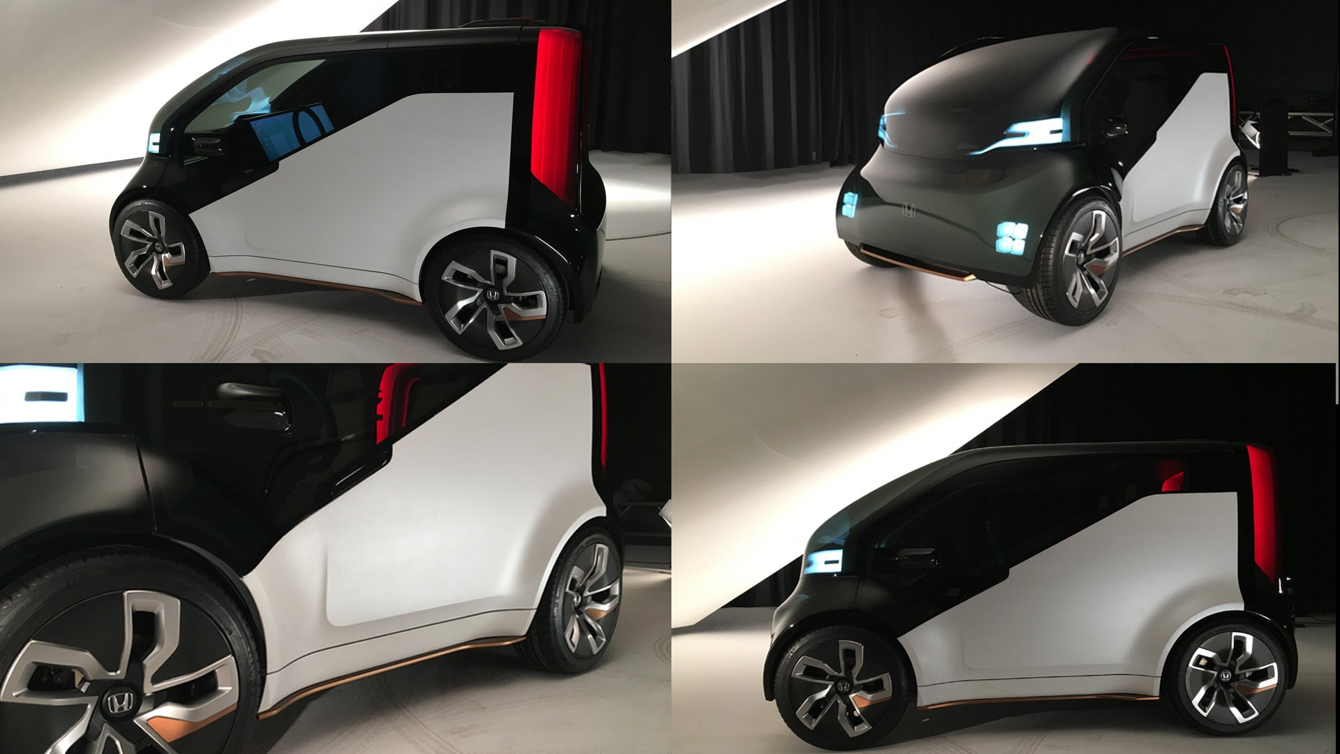 photo reference of Honda's neu-v car in a studio environment