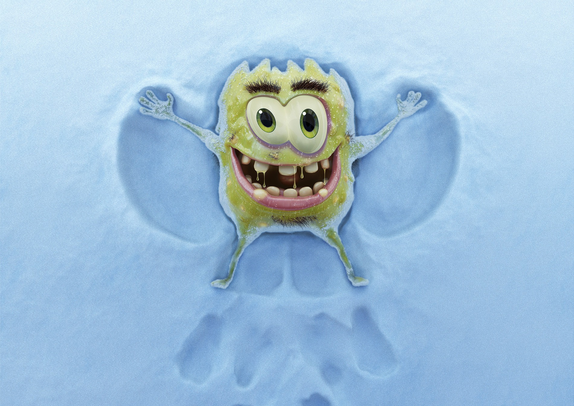 cgi artwork of a yellow germ character making a snow angel
