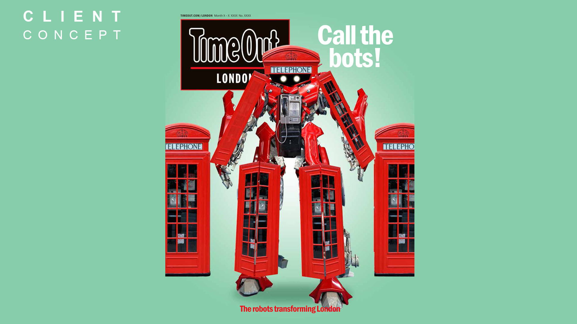 concept design featuring a red transformer robot standing in front of two british red telephone boxes