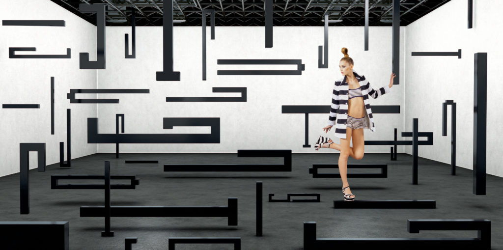 fashion model standing in a cgi studio surrounded by black linear shapes
