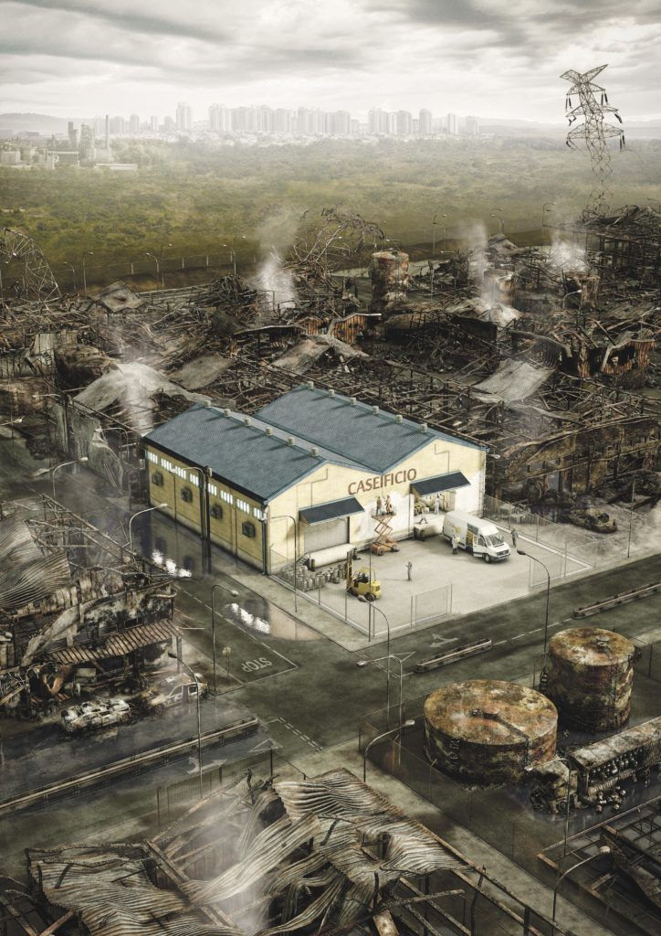 cgi artwork of a cheese factory surrounded by environmental destruction