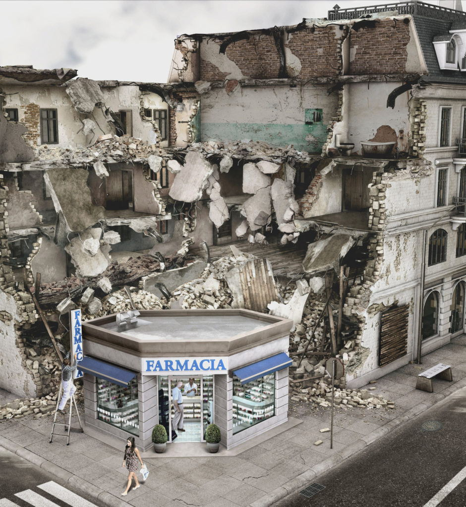 cgi artwork of a pharmacy surrounded by a collapsed building