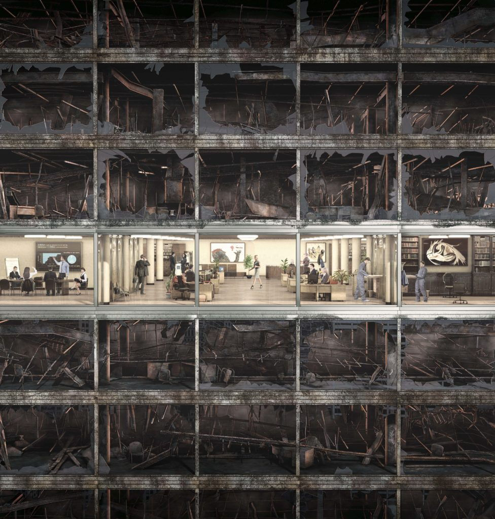 cgi artwork of an office floor surrounded by office floor that have been damaged by fire