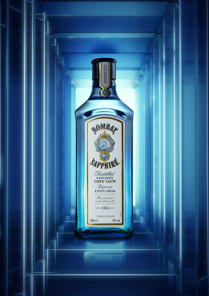 Bombay Sapphire bottle in a mirrored room
