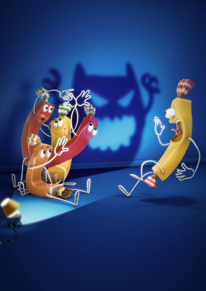 cgi illustration of carambar characters making a shadow monster to scare a carambar character