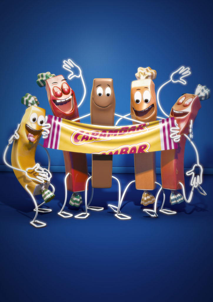 cgi illustration of carambar characters laughing at one in the nude