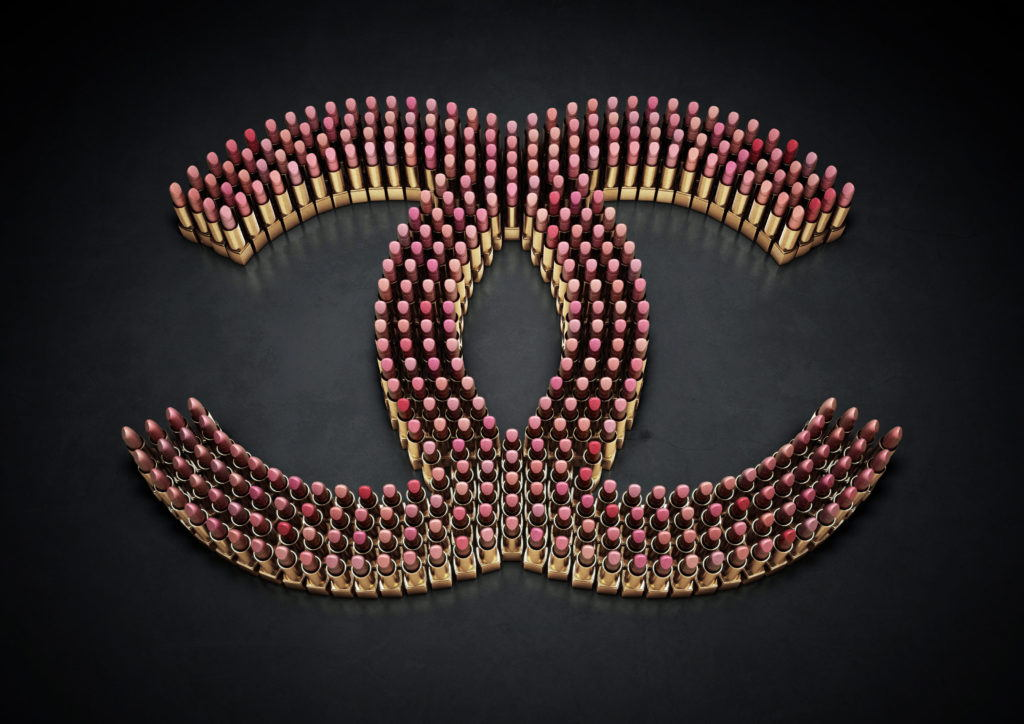 cgi illustration of the Chanel logo made from lipstick