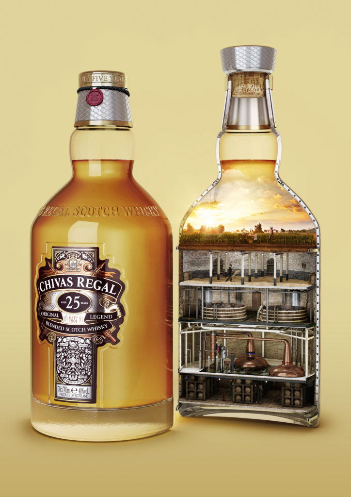 cgi illustration of a chivas regal bottle in half showing the process of how whisky is made