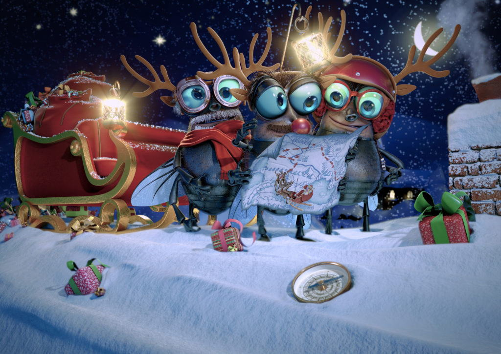 cgi Fly characters wearing Christmas antlers on a rooftop