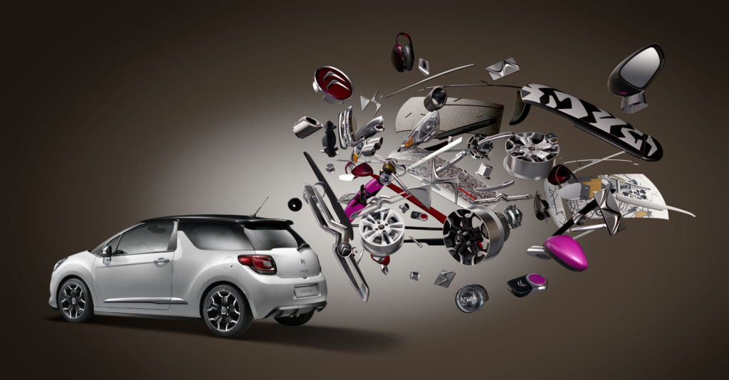 creative production of a citroen car with floating accessories