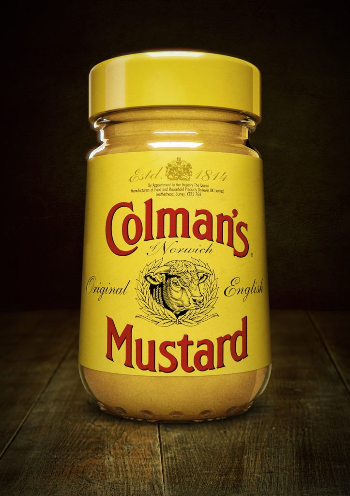 cgi model of a Colman's mustard jar