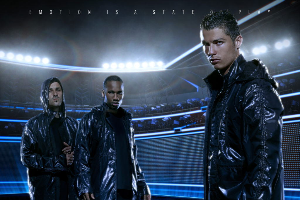 footballers standing in a futuristic football stadium