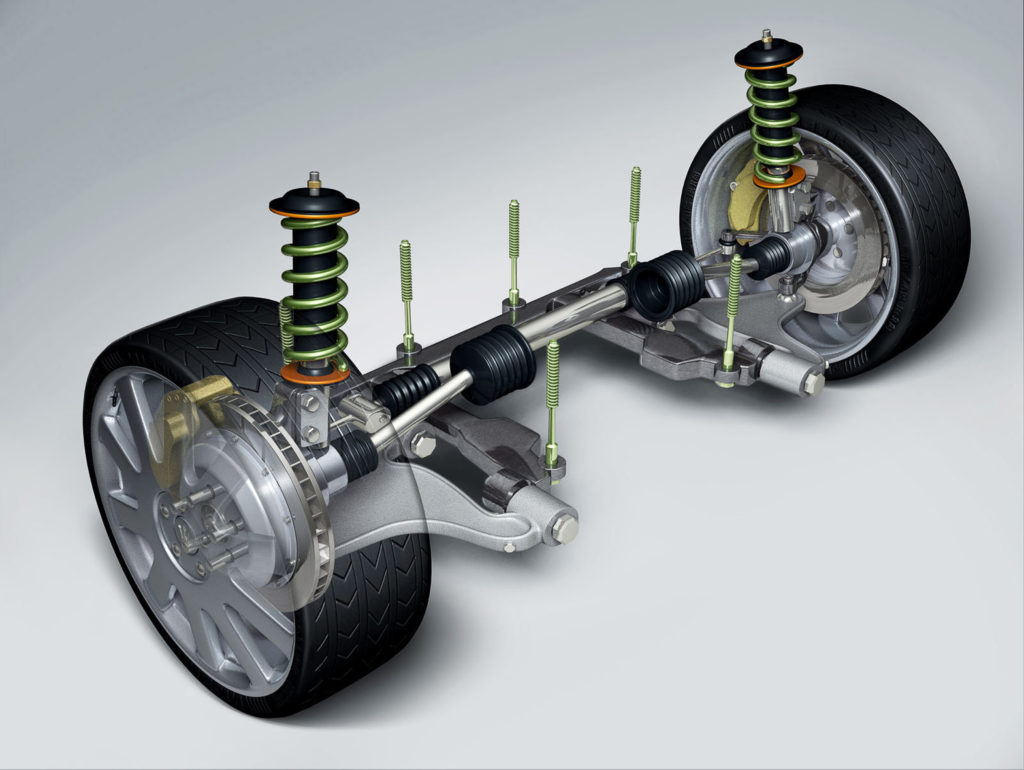 cgi diagram showing a car front wheel suspension