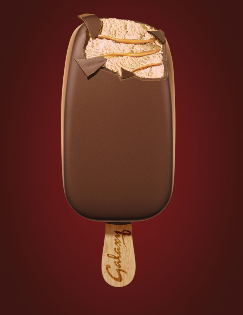 cgi Galaxy caramel ice cream on a popsicle stick