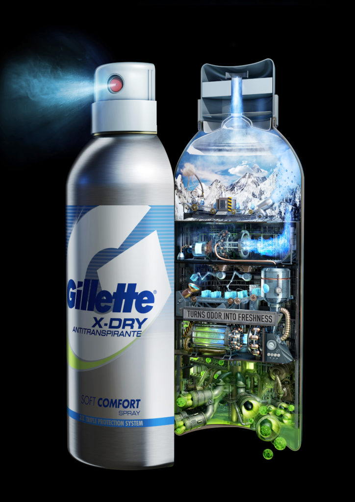 cgi Gillette spray bottle opened to show layers of odor into freshness