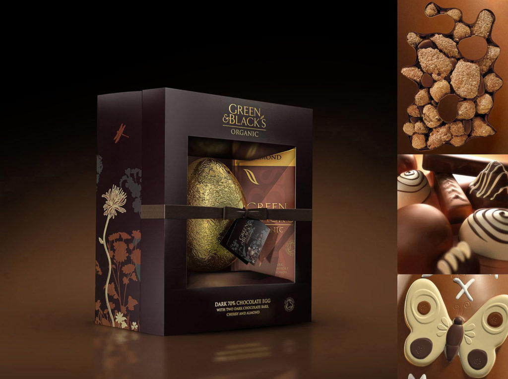 cgi artwork of a Green and Black's easter egg with cgi close up view of chocolates