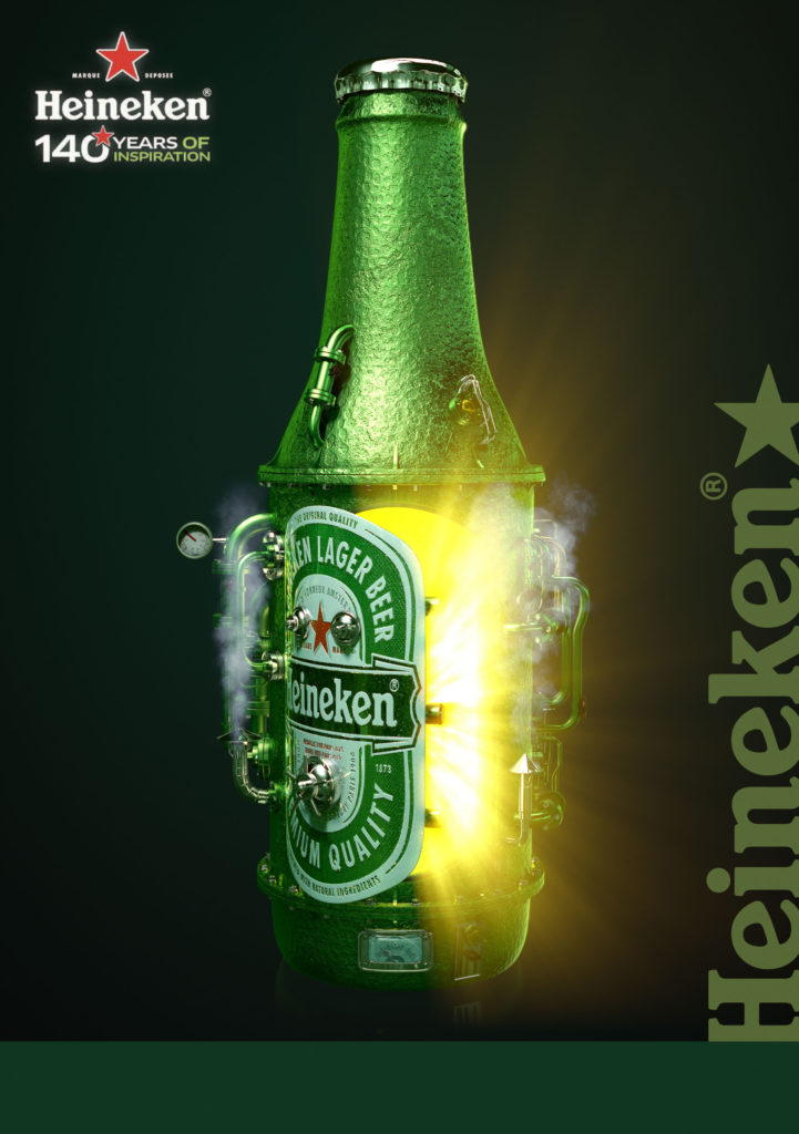 cgi artwork of a Heineken bottle made of metal opening to show a ray of yellow light