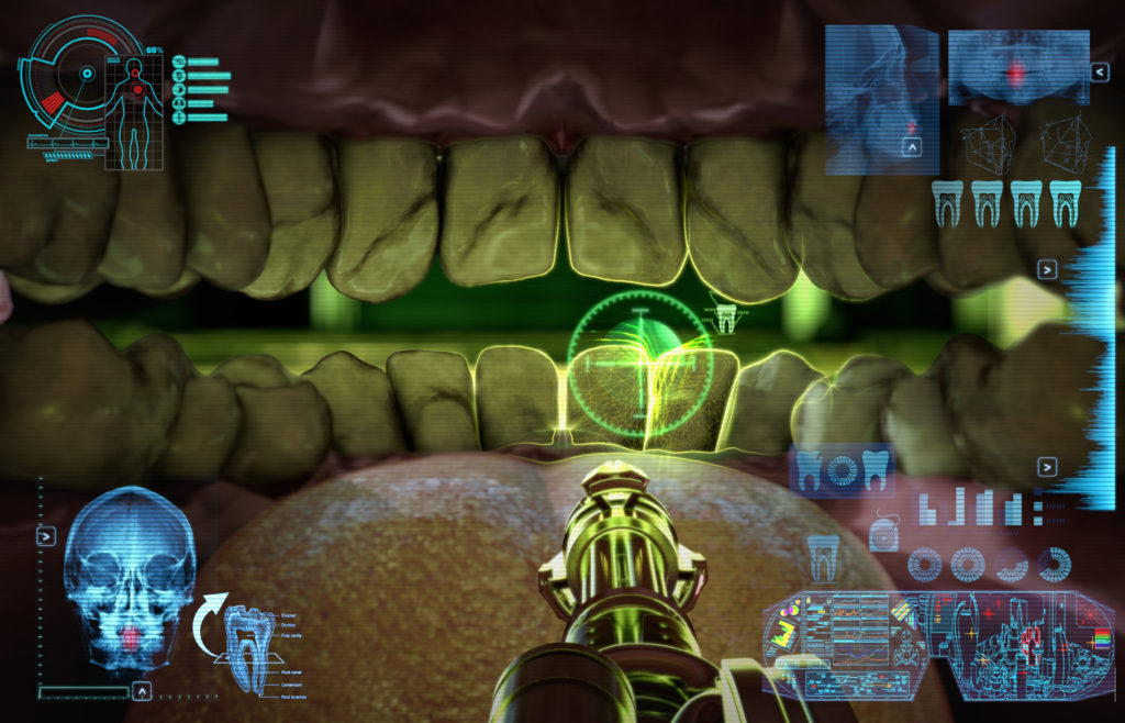 view of a cgi game inside of a human mouth