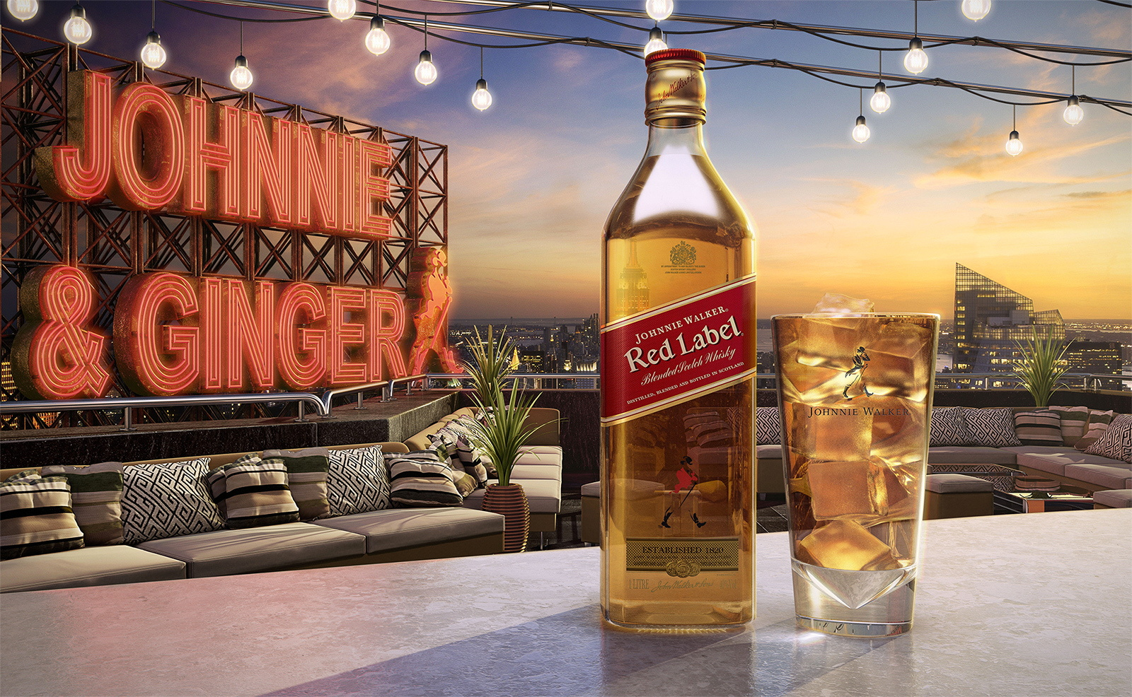 cgi johnnie walker bottle and glass with a cityscape background