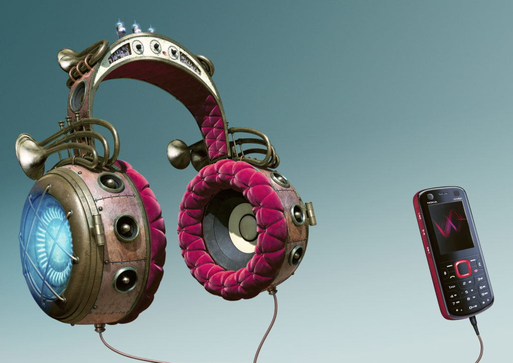 cgi illustration of music headphones in the style of Jules Verne