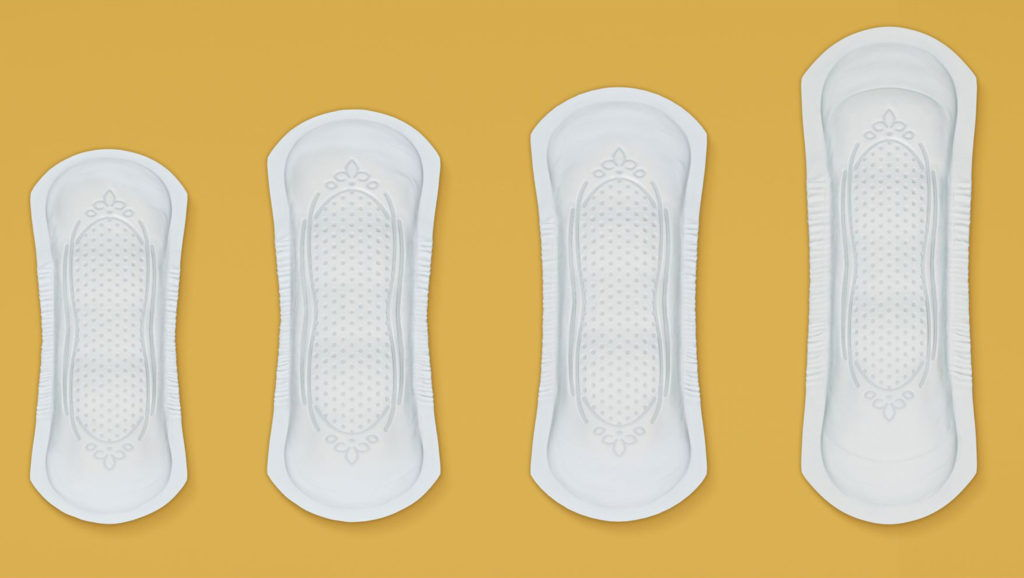 cgi illustration of a range of sanitary towels