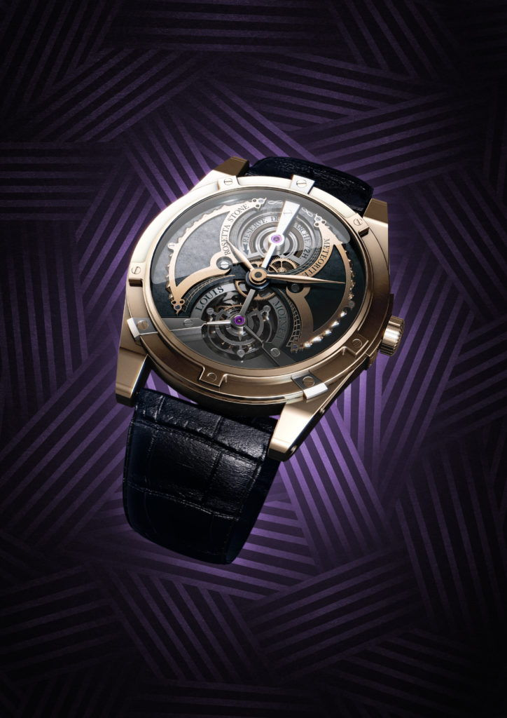 cgi illustration of a Louis Moinet watch on a purple background