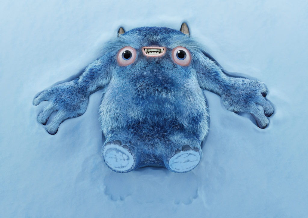 cgi artwork of a blue furry monster character lying on the snow