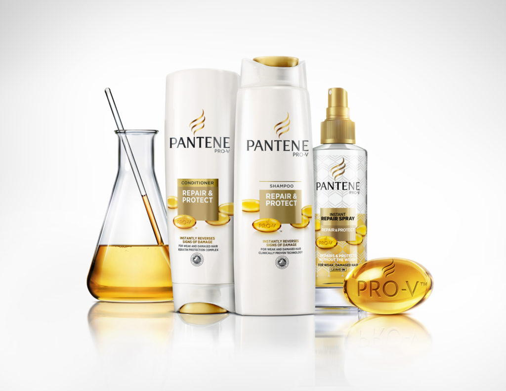 pantene shampoo bottles on a white background