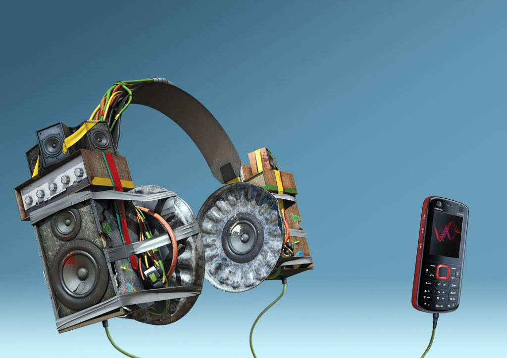 cgi illustration of headphones made from speakers and bin lids