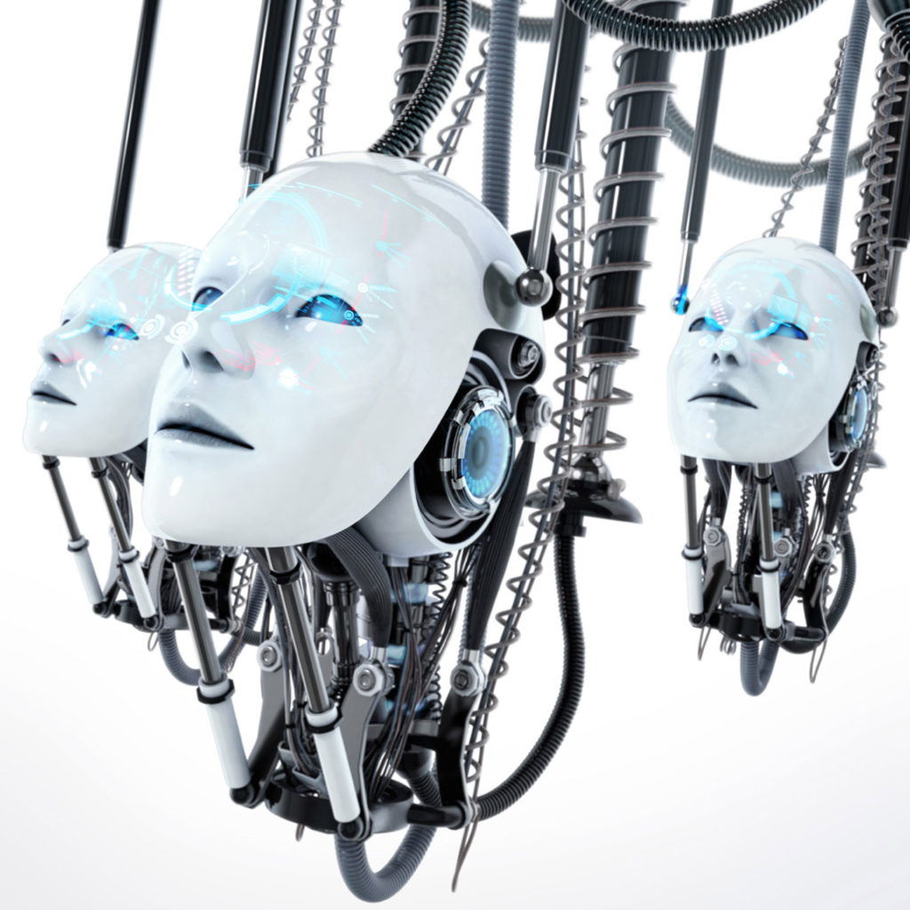 cgi illustration of white robotic heads hanging from the ceiling