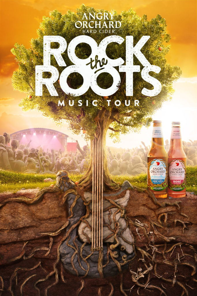 cgi illustration of a tree showing the roots and stone guitar in front of a concert