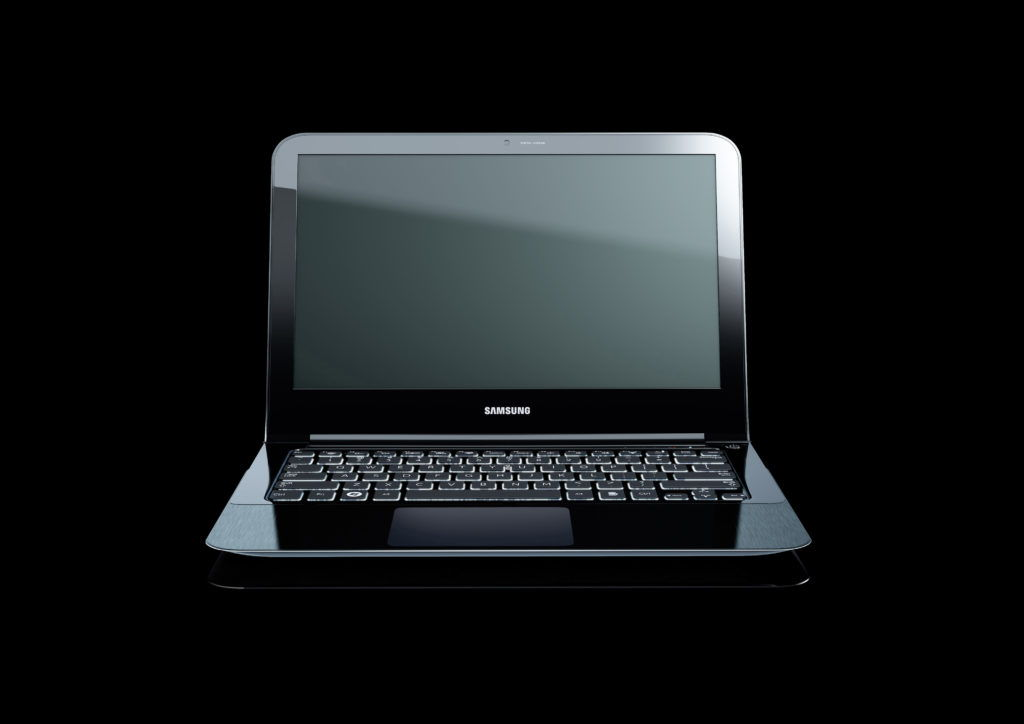 artwork of a samsung laptop on a black background