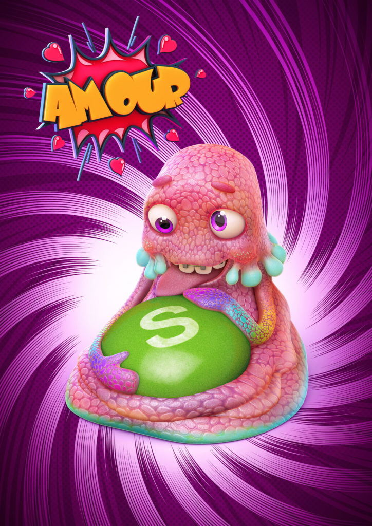 cgi character of a jelly squid hugging and licking a skittle candy