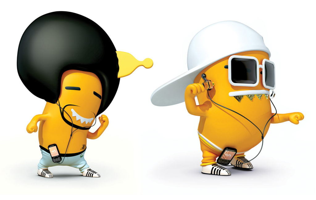 cgi illustration of 2 orange shaped pill characters listening to music