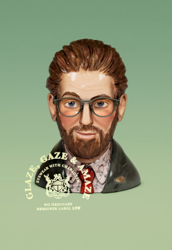 cgi creative production of ceramic painted bust of a male wearing glasses