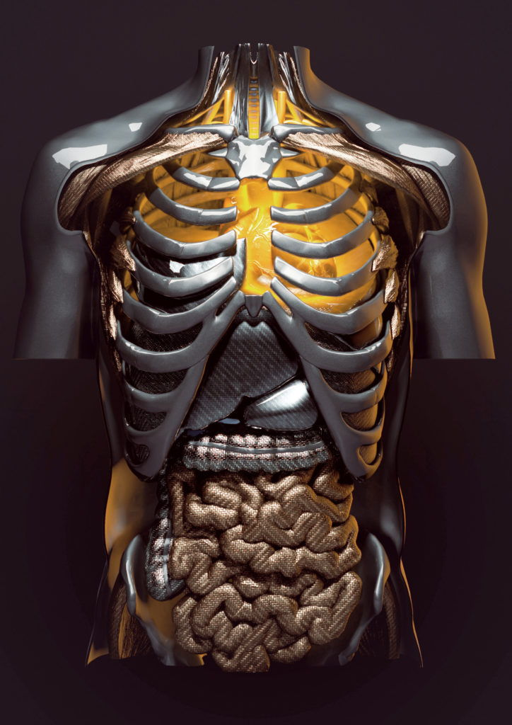 cgi model of a human torso made from automotive parts