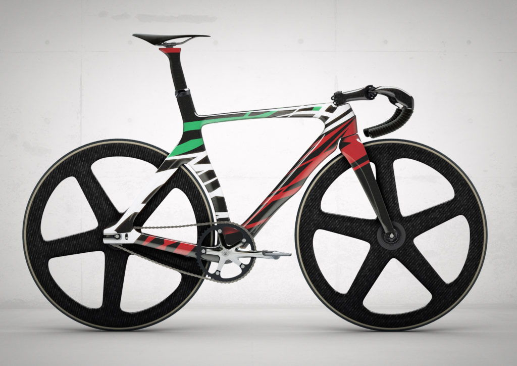 cgi track bike on a concrete background