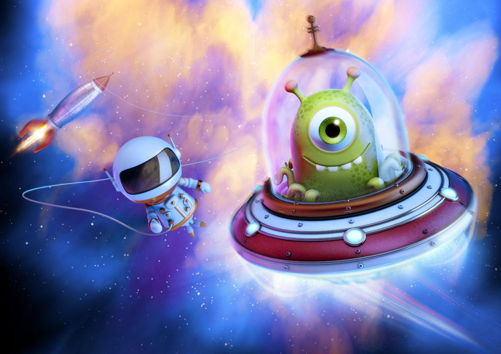 cgi illustration of an alien in a UFO being chased by an astronaut tied to a space rocket