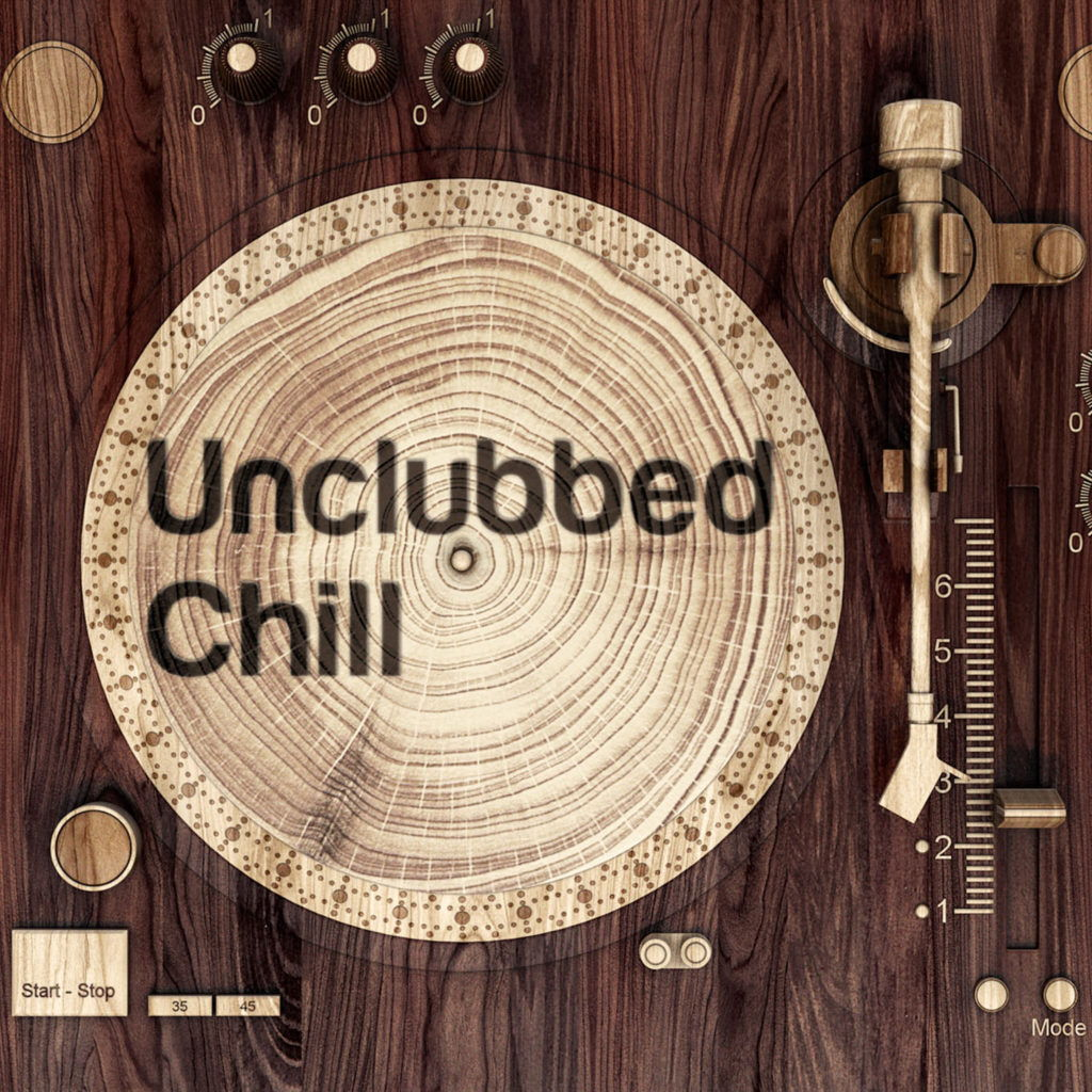 unclubbed chill album cover art of a dj deck made of wood