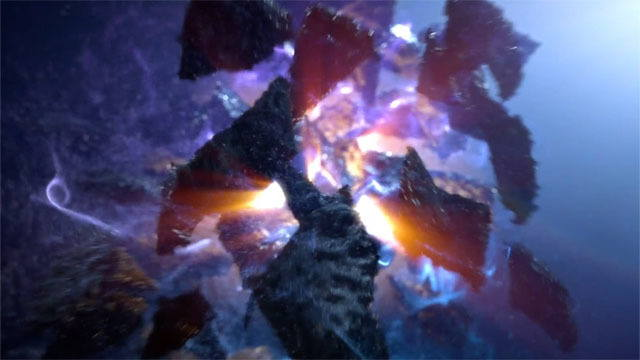 cgi reel animation of a rock exploding