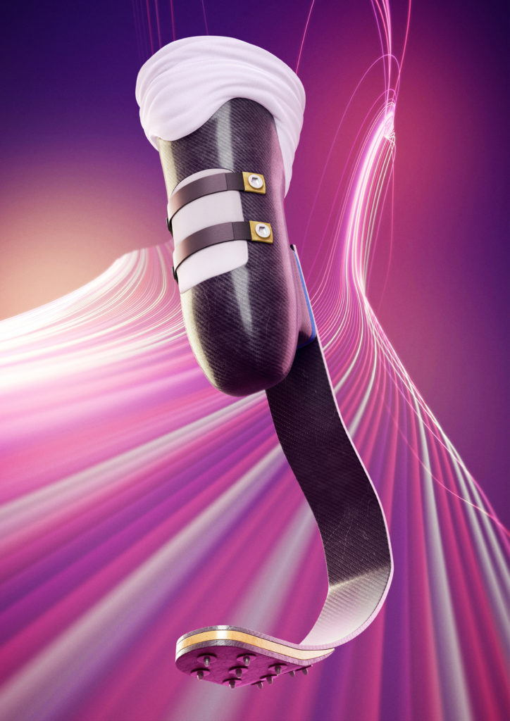 boom cgi illustration of a prosthetic blade