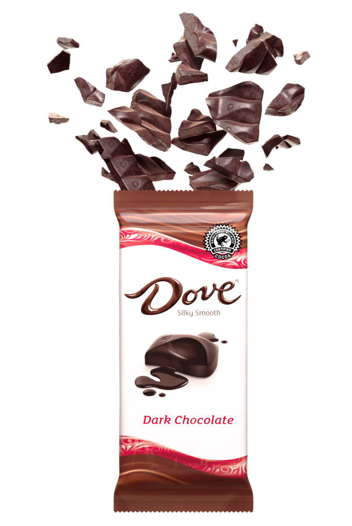 cgi illustration of a dark chocolate bar exploding