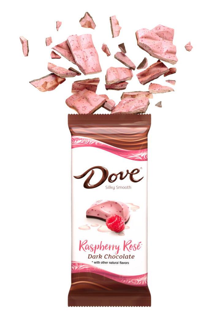 cgi illustration of dove raspberry rose chocolate bar exploding