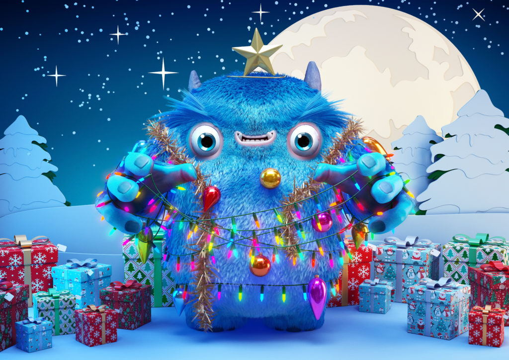 cgi blue monster character dressed as a christmas tree